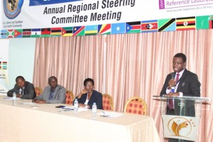Photo: ECSA-HC Director General Prof. Yoswa Dambisya making his speech during the official opening of the 3rd RSC meeting, Kampala, November 2017. From left to right: Dr Jean dieu Iragena (WHO representative), Prof Moses Joloba (Head of SRL Uganda) and Dr Diana Atwine (PS Ministry of Health Uganda)